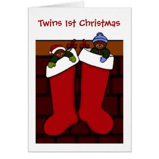 twin bears in Christmas stockings Greeting Card