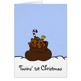 Twin bears in Santas sack Card