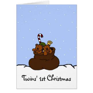 Twin bears in Santas sack Card