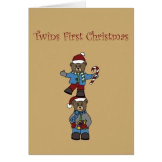 Twin bears stacked card