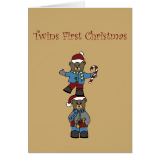 Twin bears stacked greeting card