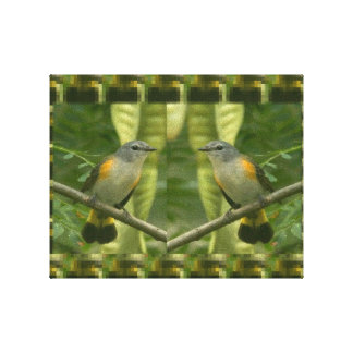 TWIN Birds talking on a Branch for KIDS room Stretched Canvas Prints