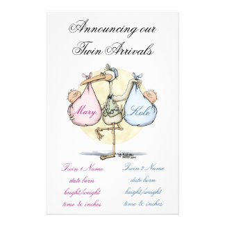 Twin Birth Announcement - Girl & Boy Personalised Stationery