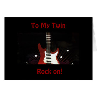"""TWIN BIRTHDAY SO ROCK ON FOR YOU """"STILL ROCK!"""" GREETING CARD"""