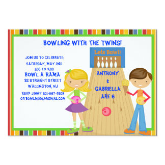 Twin Bowling Birthday Party Invitation