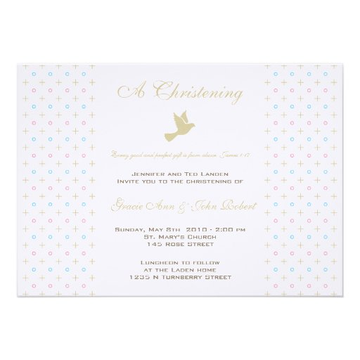 Twin Boy and Girl Christening  Invitation