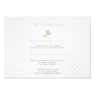 "Twin Boy and Girl Christening  Invitation 5"" X 7"" Invitation Card"