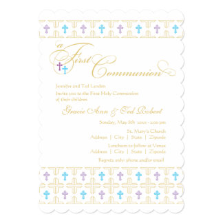 "Twin Boy and Girl First Communion Invitation 5"" X 7"" Invitation Card"