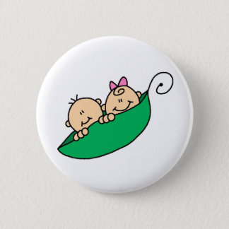 Twin Boy and Girl in Pea Pod 6 Cm Round Badge