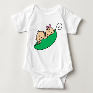 Twin Boy and Girl in Pea Pod Baby Bodysuit