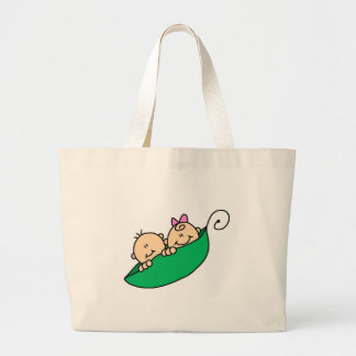 Twin Boy and Girl in Pea Pod Large Tote Bag
