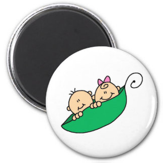 Twin Boy and Girl in Pea Pod Magnets