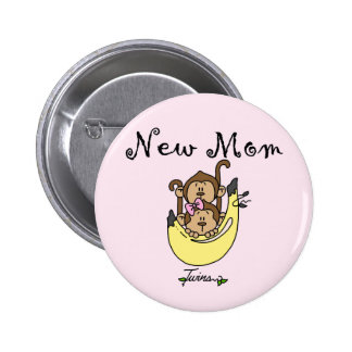 Twin Boy and Girl New Mom Tshirts 6 Cm Round Badge