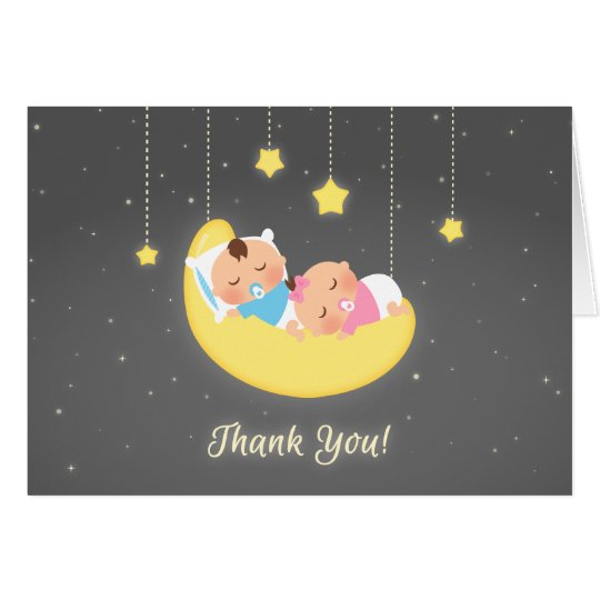 Twin Boy and Girl on Moon Baby Thank You Card