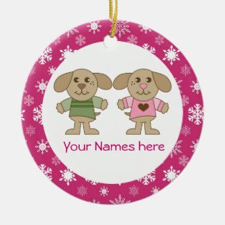 Twin Boy and Girl Pink Christmas Keepsake Gift Christmas Ornament