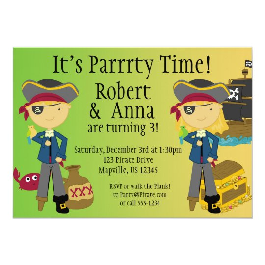 Twin Boy and Girl Pirate Birthday Party Invitation