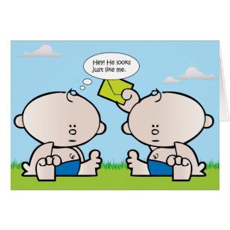 Twin boy babies greeting card