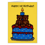 twin boy bears on cake 1st birthday