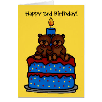 twin boy bears on cake birthday 3 greeting card