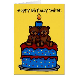 twin boy bears on cake birthday greeting cards