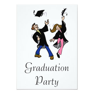 Twin Boy & Girl Graduates 13 Cm X 18 Cm Invitation Card