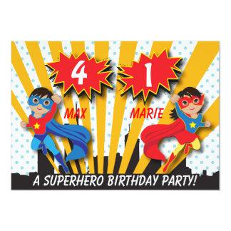 Twin Boy Girl Superhero Birthday 13 Cm X 18 Cm Invitation Card