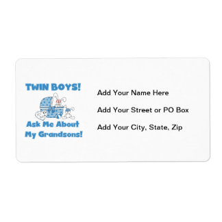Twin Boy Grandsons Gifts Shipping Label