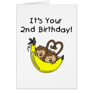 Twin Boy Monkeys 2nd Birthday Card
