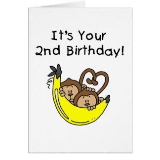 Twin Boy Monkeys 2nd Birthday Greeting Card