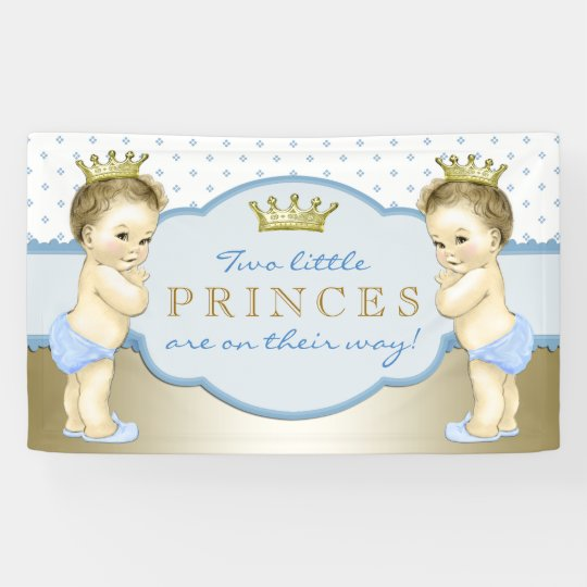 Twin Boy Prince Baby Shower Banner