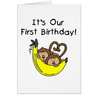 Twin Boys 1st Birthday Monkey Tshirts and Gifts Greeting Card