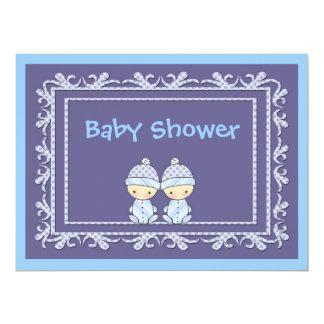 Twin Boys Baby Shower Invite Blue