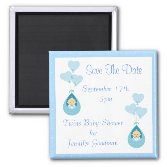 Twin Boys & Balloons Save The Date Baby Shower Magnet