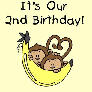 Twin Boys Banana Monkey 2nd Birthday Card