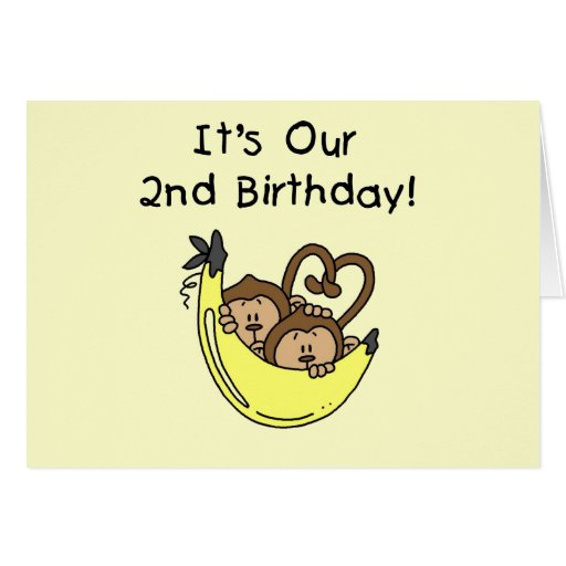 Twin Boys Banana Monkey 2nd Birthday Greeting Cards