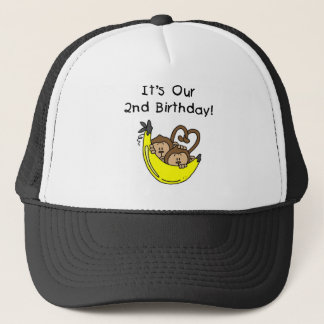Twin Boys Banana Monkey 2nd Birthday Trucker Hat