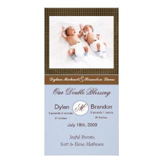 Twin Boys Birth Announcement Card