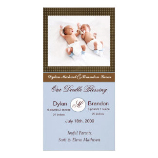 Twin Boys Birth Announcement Photo Card