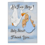 Twin Boys Blonde Stork Baby Shower Thank You Card