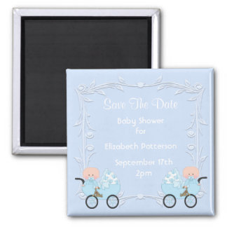 Twin Boys Blue Baby Shower Save The Date Square Magnet