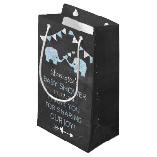 Twin Boys Blue Elephants Baby Shower Thank You Small Gift Bag