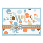 TWIN BOYS Blue Orange Brown Dots Baby Shower Announcements