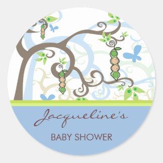 Twin Boys Blue Peas In A Pod Baby Shower Sticker