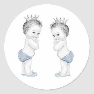 Twin Boys Blue Prince Baby Shower Stickers