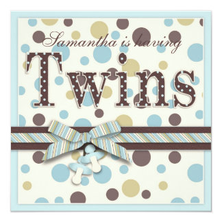 TWIN BOYS Blue Sage Brown Dots Baby Shower 13 Cm X 13 Cm Square Invitation Card