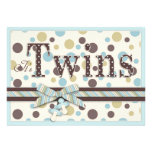 TWIN BOYS Blue Sage Brown Dots Baby Shower Invitation