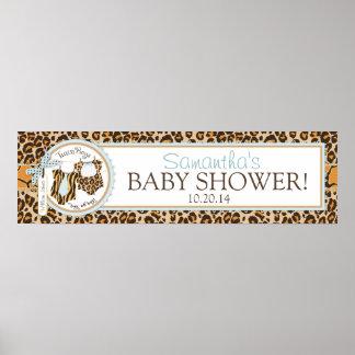 Twin Boys Bow Tie Cheetah Print Baby Shower Banner
