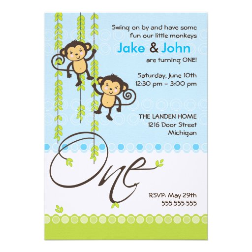 Twins 1St Birthday Invitation Cards with adorable invitations template