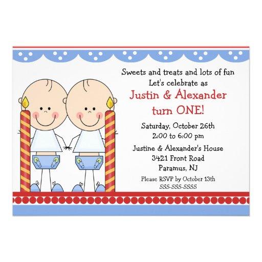 Twin Boys First Birthday Custom Invitation