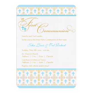 Twin Boys First Communion Invitation Personalized Announcements